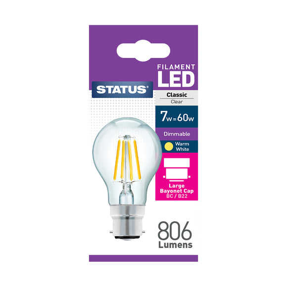 Status 7W LED GLS - B22-BC - Dimmable - Warm White (2700K) - (7SFDGBCC1PKB8)