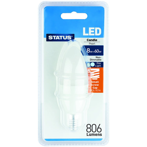 Status 8W LED Pearl Candle - E14-SES - Daylight (6500K) - (8SLCSESDLB112)