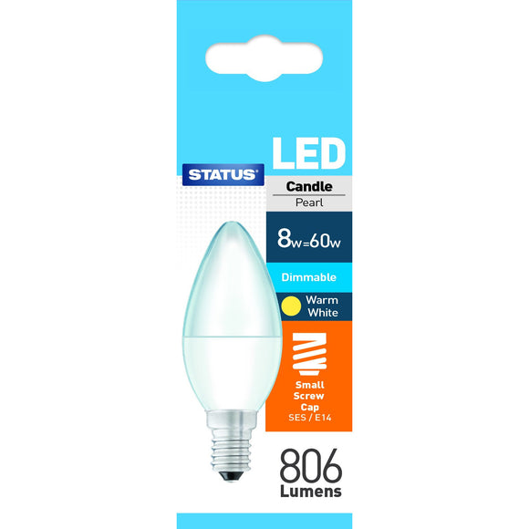 Status 8W LED Candle - E14-SES Dimmable - Warm White (2700K) - (8SLDCSES1PKB8)