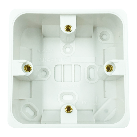 Crabtree 44mm Deep White Moulded Surface Box (9041) - BBEW