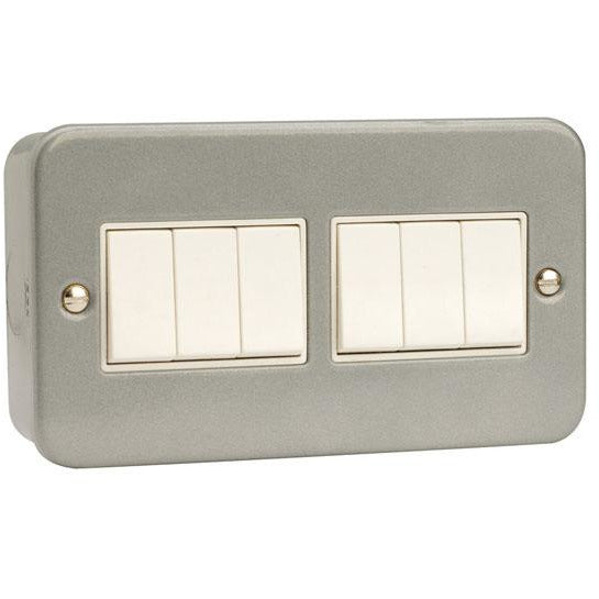 Click Metal Clad 10AX 6 Gang 2 Way Plate Switch (CL105)