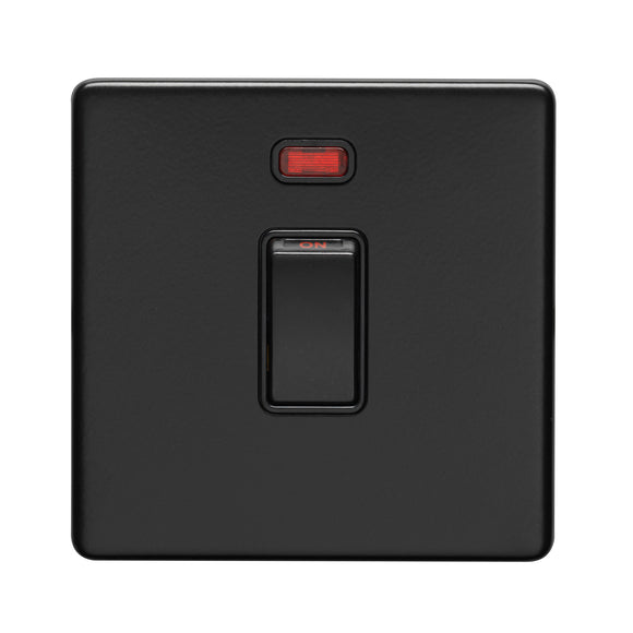 Eurolite Concealed Matt Black 20A DP Switch with Neon Indicator (ECMB20ADPSWNB)