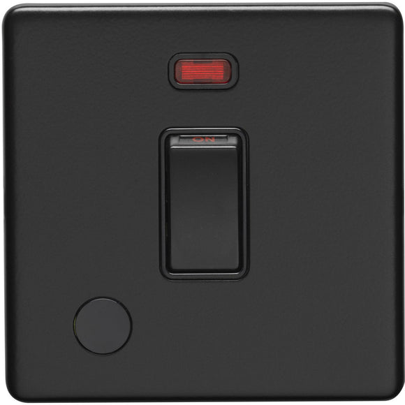 Eurolite Concealed Matt Black 20A DP Switch with Neon Indicator & Flex Outlet (ECMB20ADPSWNFOB)