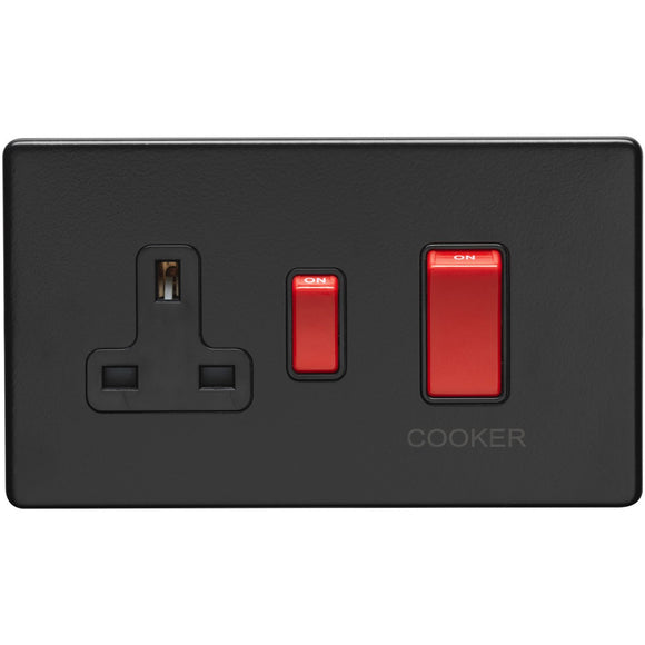 Eurolite Concealed Matt Black 45A DP Main Switch and 13A Switched Socket (ECMB45ASWASB)