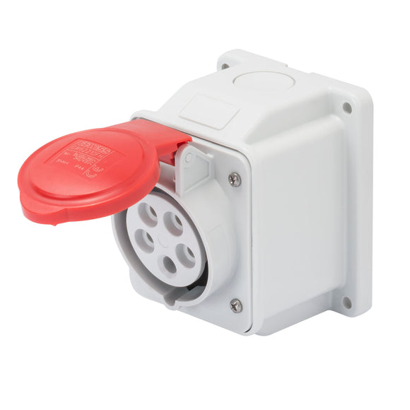 Gewiss Red 10° Angled Surface Mounted Socket IP44 32A 3P+N+E 380-415V (GW62420)