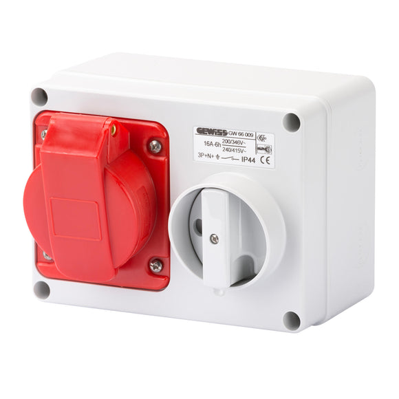 Gewiss Red Horizontal Interlocked Socket IP44 16A 3P+N+E 415V (GW66009)
