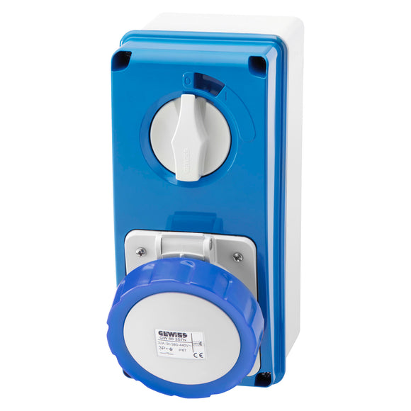 Gewiss Blue Vertical Interlocked Socket IP67 16A 2P+E 200-250V (GW66204N)