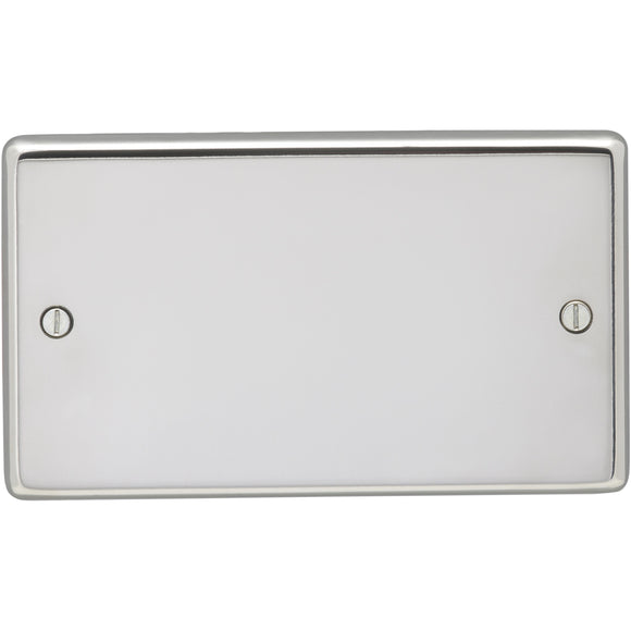 Eurolite Polished Stainless Steel 2 Gang Blanking Plate (PSS2B) - BBEW