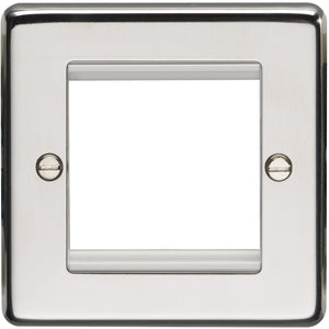Eurolite Polished Stainless Steel 1G Twin Module Faceplate