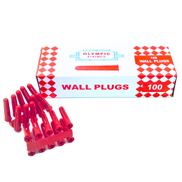 Red Plastic Wall Plugs (x 100)