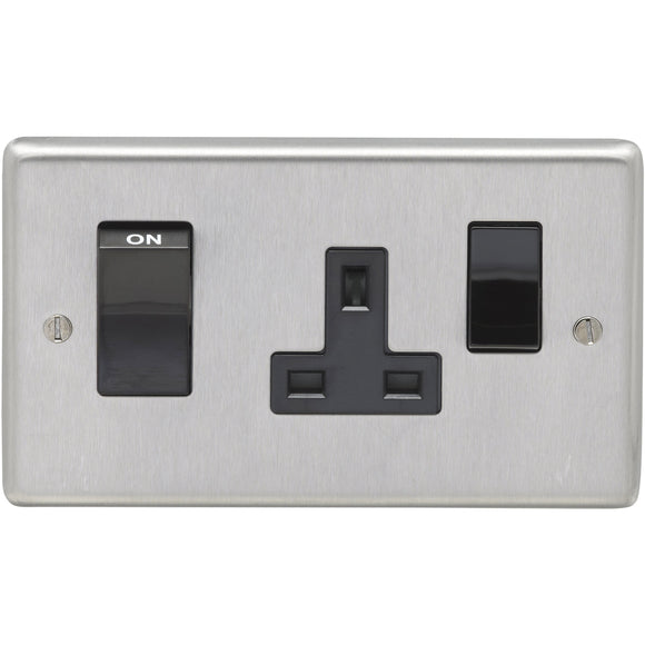 Eurolite Satin Stainless Steel 45A DP Main Switch and 13A Switch Socket Outlet (SSS45ASWASB)