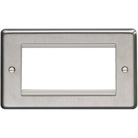 Eurolite Satin Stainless Steel 2G Quad Module Faceplate