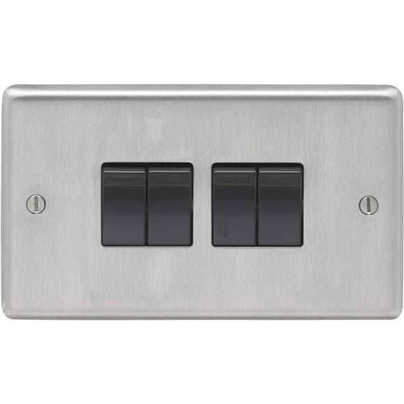 Eurolite Satin Stainless Steel 4 Gang 2 Way 10AX Switch (SSS4SWB)