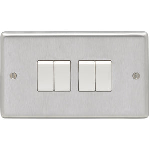 Eurolite Satin Stainless Steel 4 Gang 2 Way 10AX Switch (SSS4SWW)