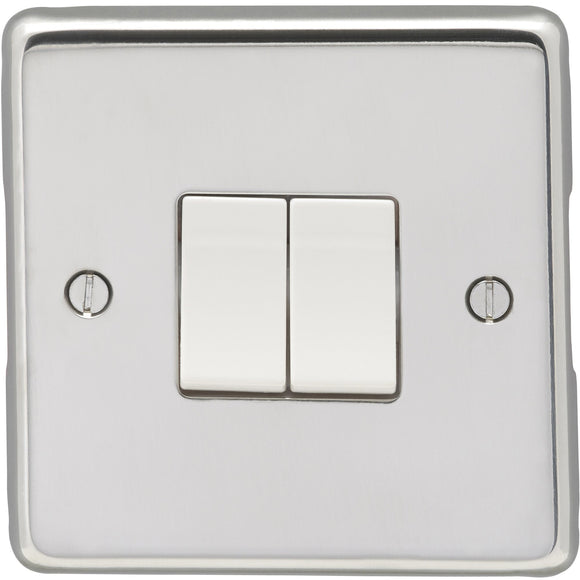 Eurolite Polished Stainless Steel 2 Gang 2 Way 10AX Switch (XPSS2SWW) - BBEW