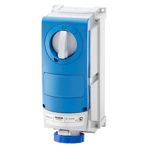 Gewiss Blue Vertical Interlocked Socket IP67 16A 2P+E 200-250V (GW66504)