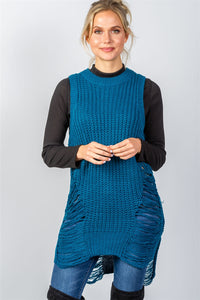 Teal Round Neckline Sleeveless Sweater Knit Distress Sides Dress