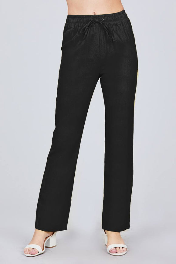 Elastic Waist w/Drawstring Long Linen Pants - Black
