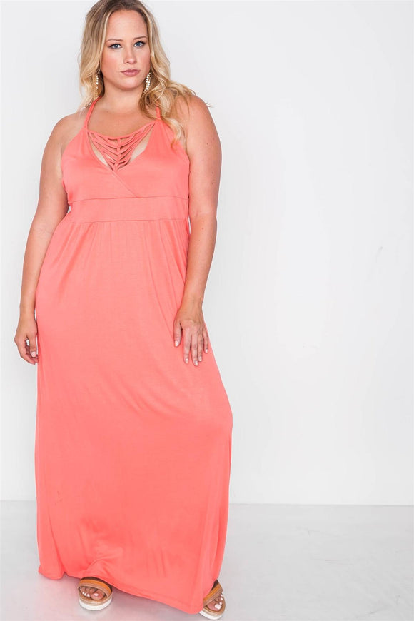 Plus Size Strap Detail Cami Solid Maxi Dress - Coral