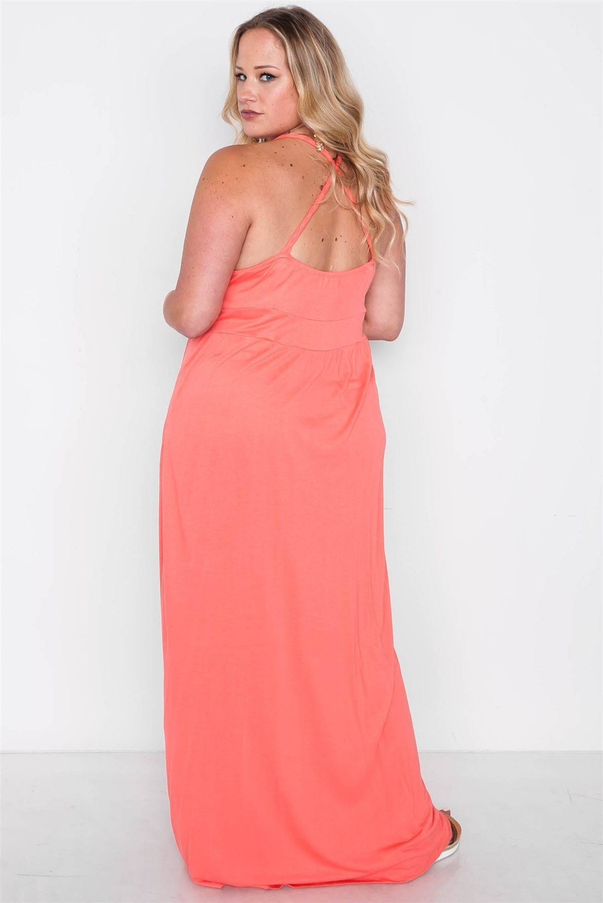 Plus Size Strap Detail Cami Solid Maxi Dress - Coral – iVenture Fashions