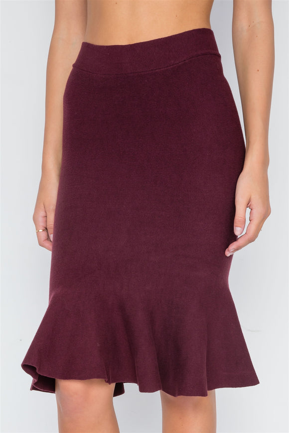 Ribbed Knit Midi Skirt - Burgundy