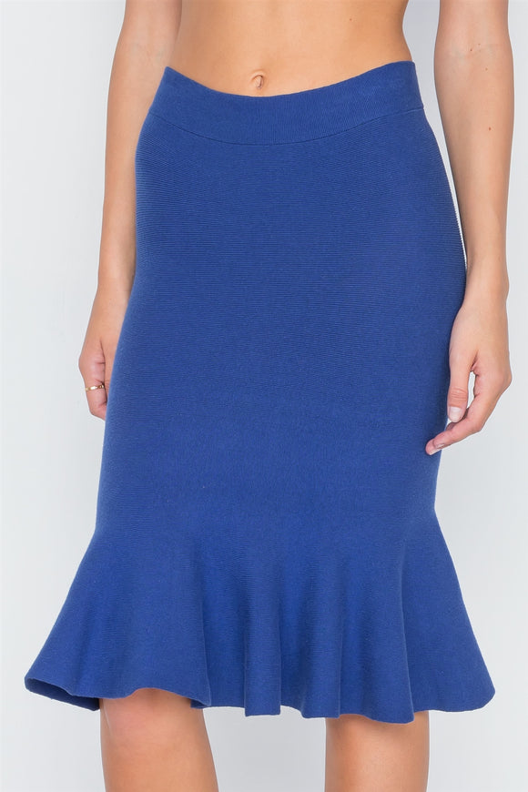 Ribbed Knit Midi Skirt - Ink Blue