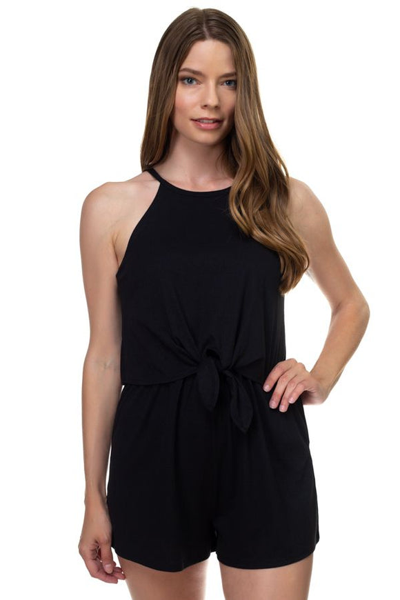 Sleeveless Ribbed Front Tie Romper - Black