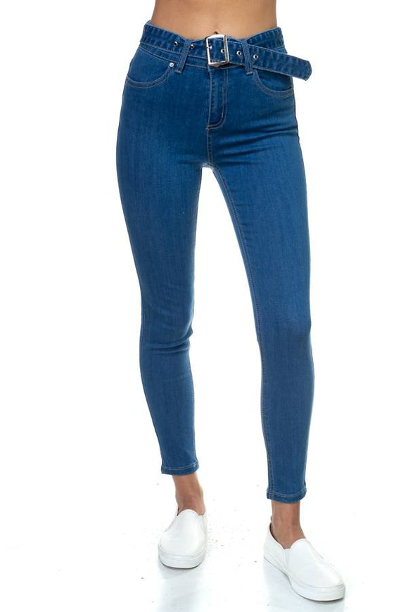 Denim High Rise Belted Jeans - Blue