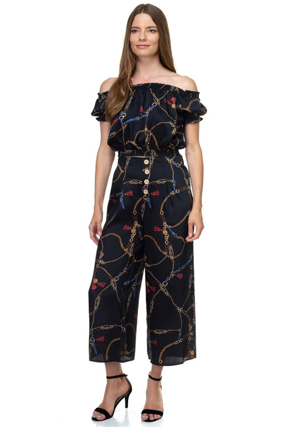 Smocked Off Shoulder Top & Button Pants Set - Black