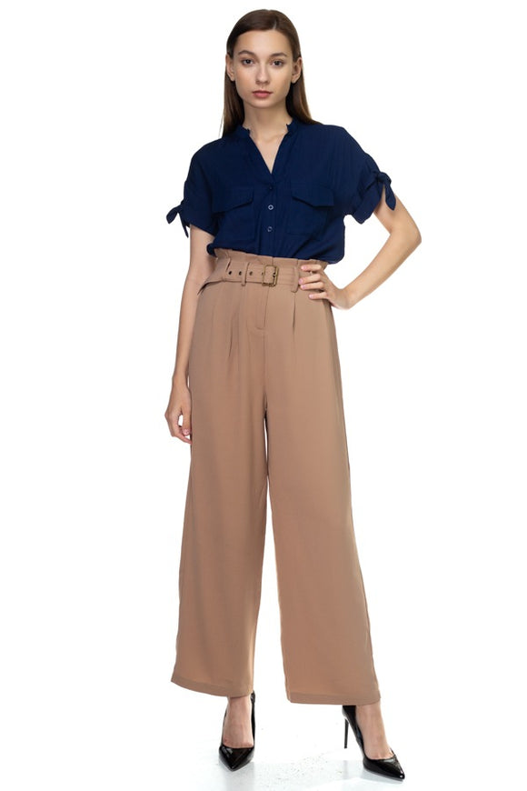 Belted Wide Leg Pants - Walnut