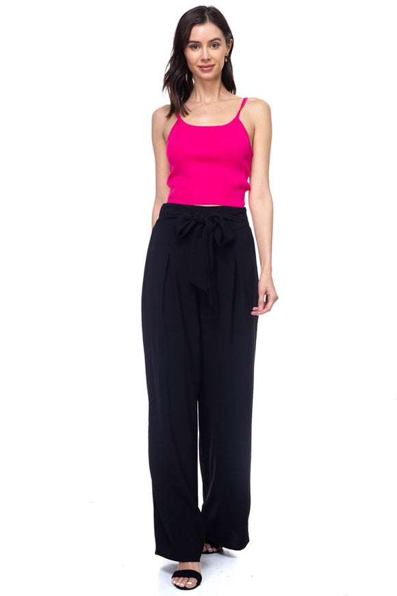 Belted Pleated Palazzo Wide Leg Pants - Black