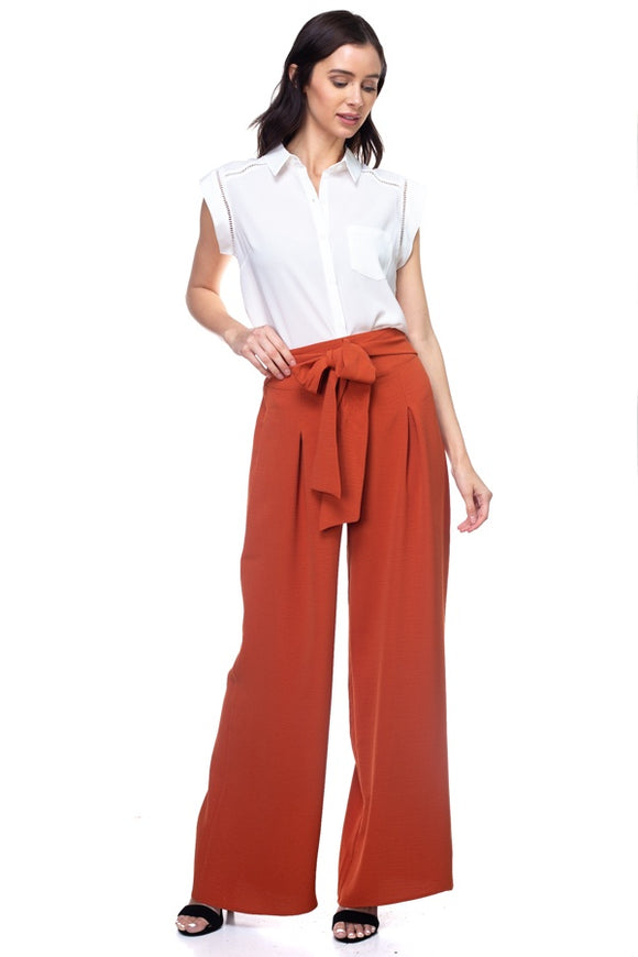 Belted Pleated Palazzo Wide Leg Pants - Dark Rust
