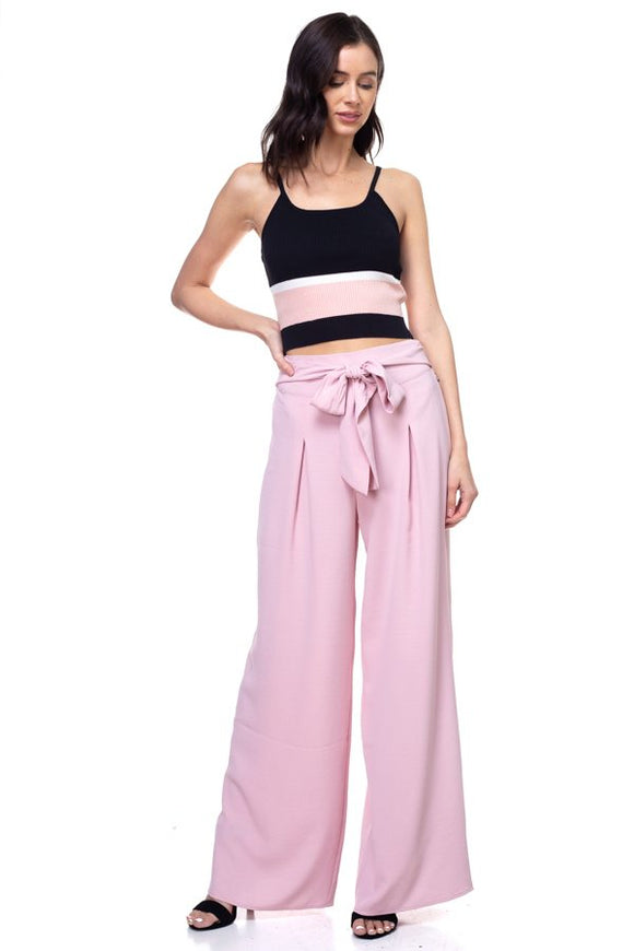 Belted Pleated Palazzo Wide Leg Pants - Light Mauve