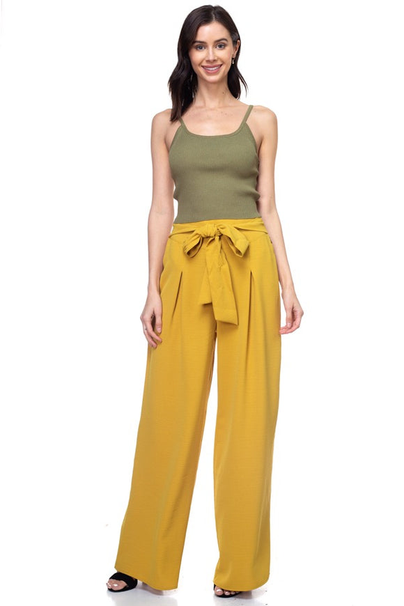Belted Pleated Palazzo Wide Leg Pants - Tea Mustard