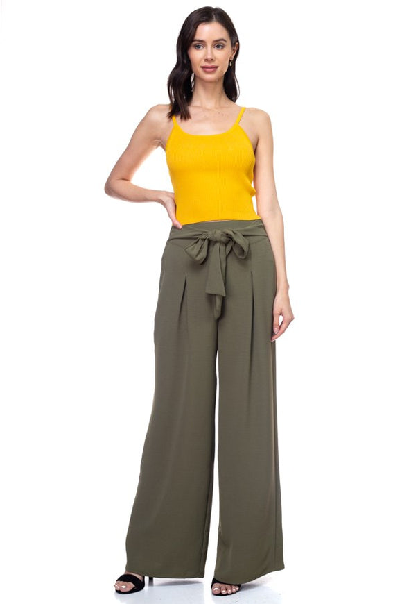 Belted Pleated Palazzo Wide Leg Pants - Olive