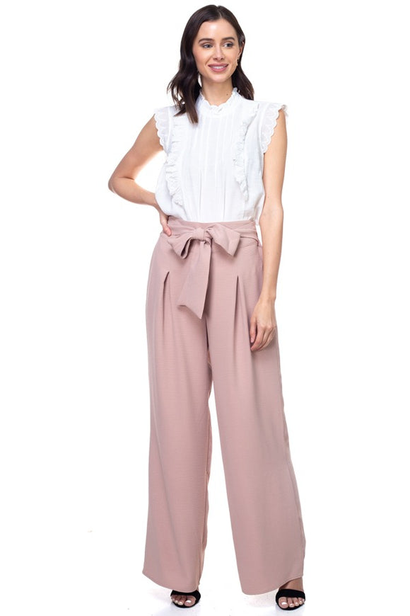 Belted Pleated Palazzo Wide Leg Pants - Taupe