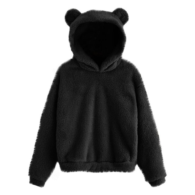 Fluffy Bear Ear Sweater - Black
