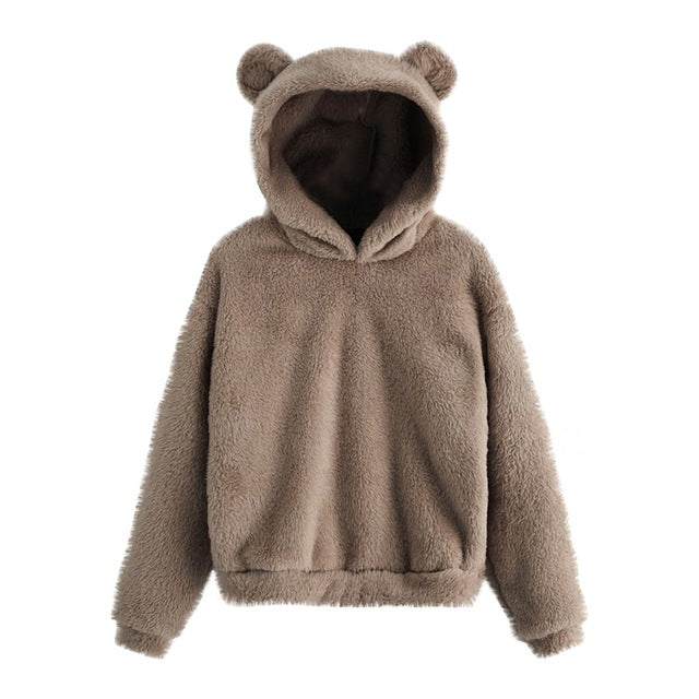 Fluffy Bear Ear Sweater - Grey