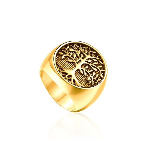 Tree of Life Gold Signet Ring