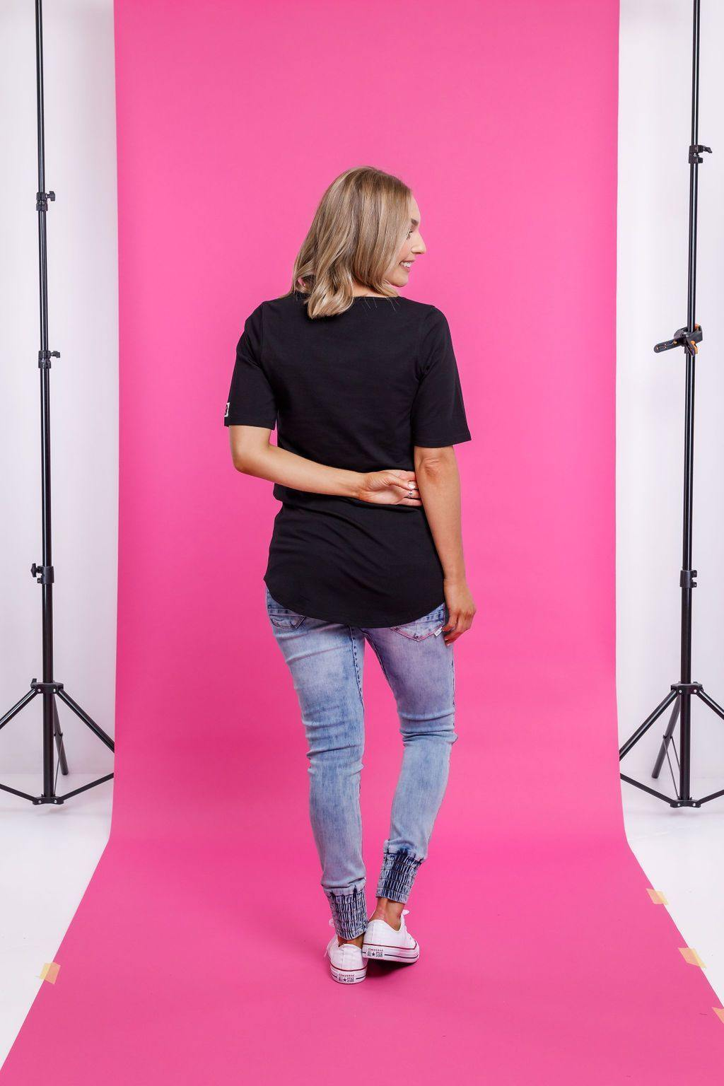HOMELEE Long Line S/S Tee-Black - allaboutagirl