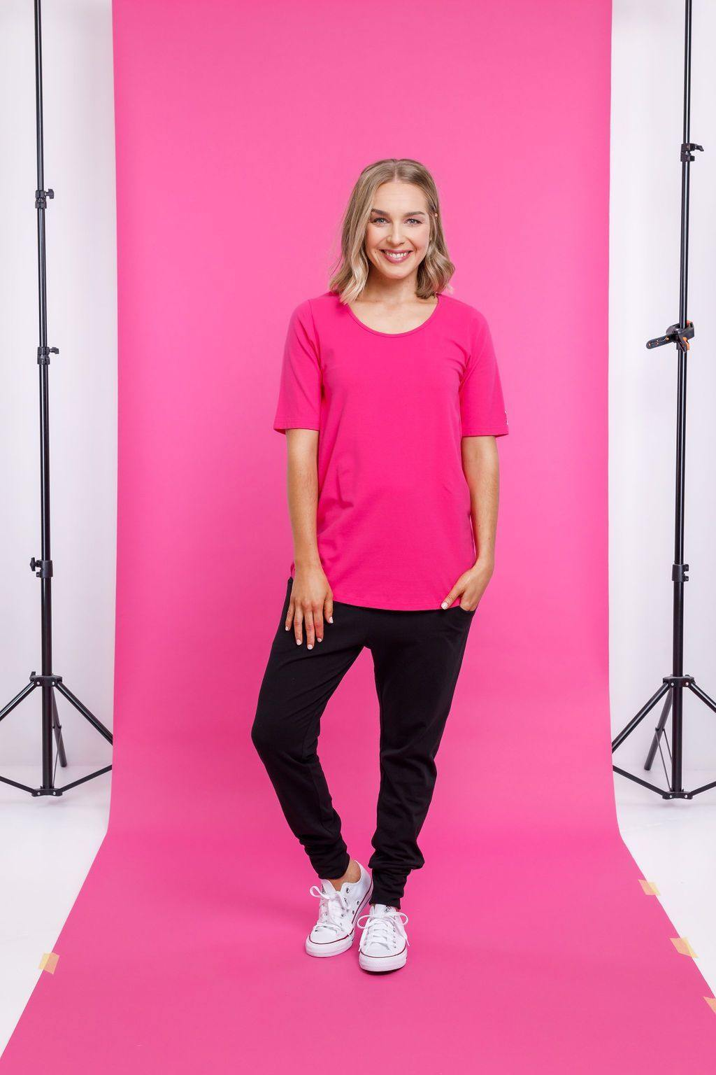 HOMELEE Long Line S/S Tee-Pink - allaboutagirl