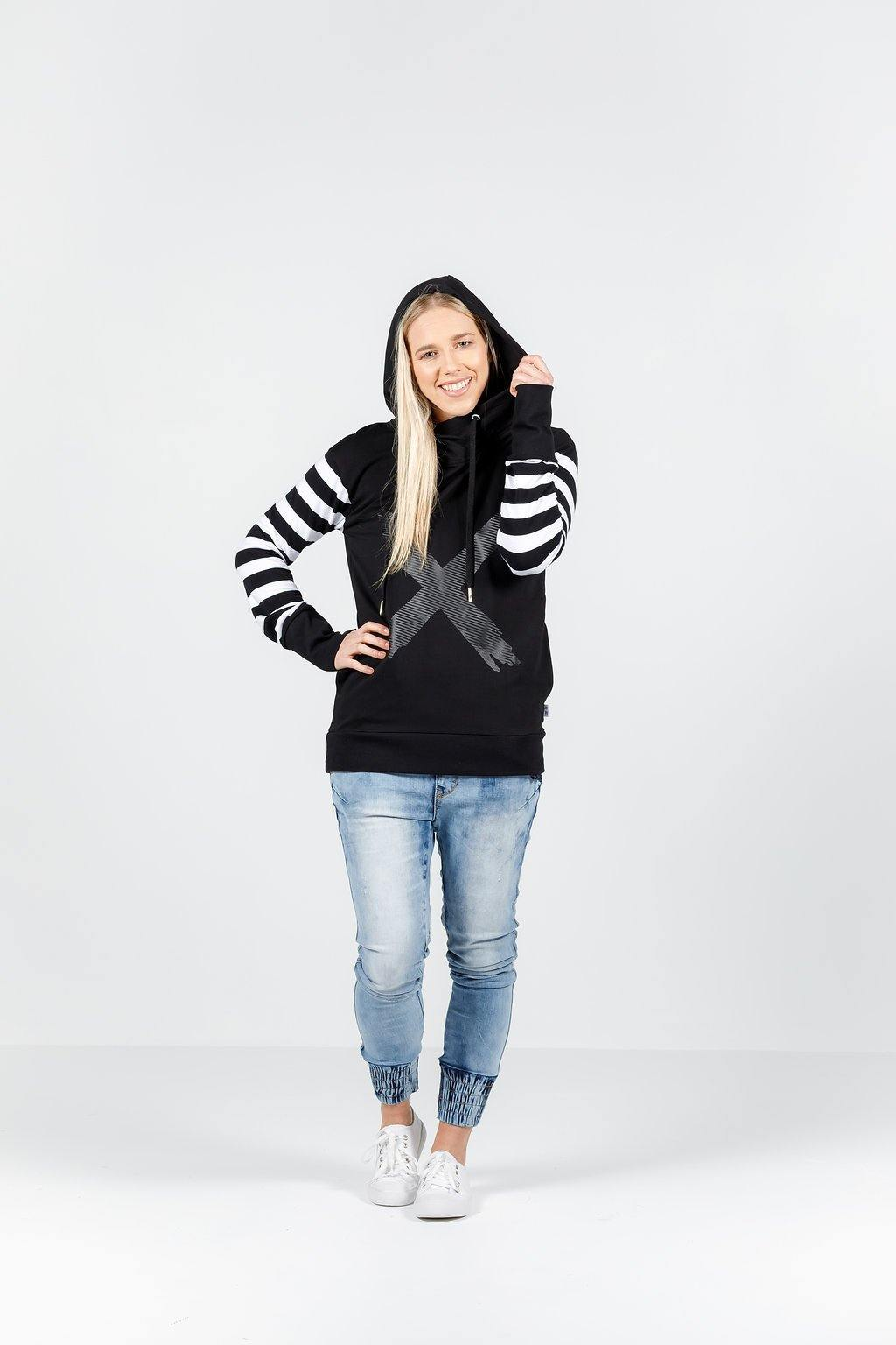 Homelee Hooded Sweatshirt-Black/white