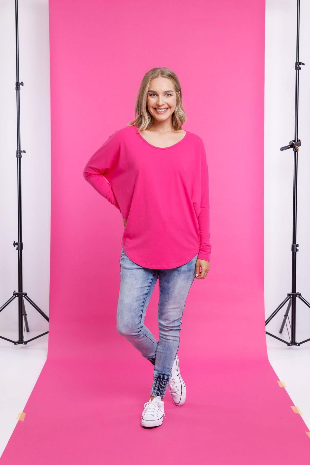 Batwing Tee-Pink - HOMELEE - allaboutagirl