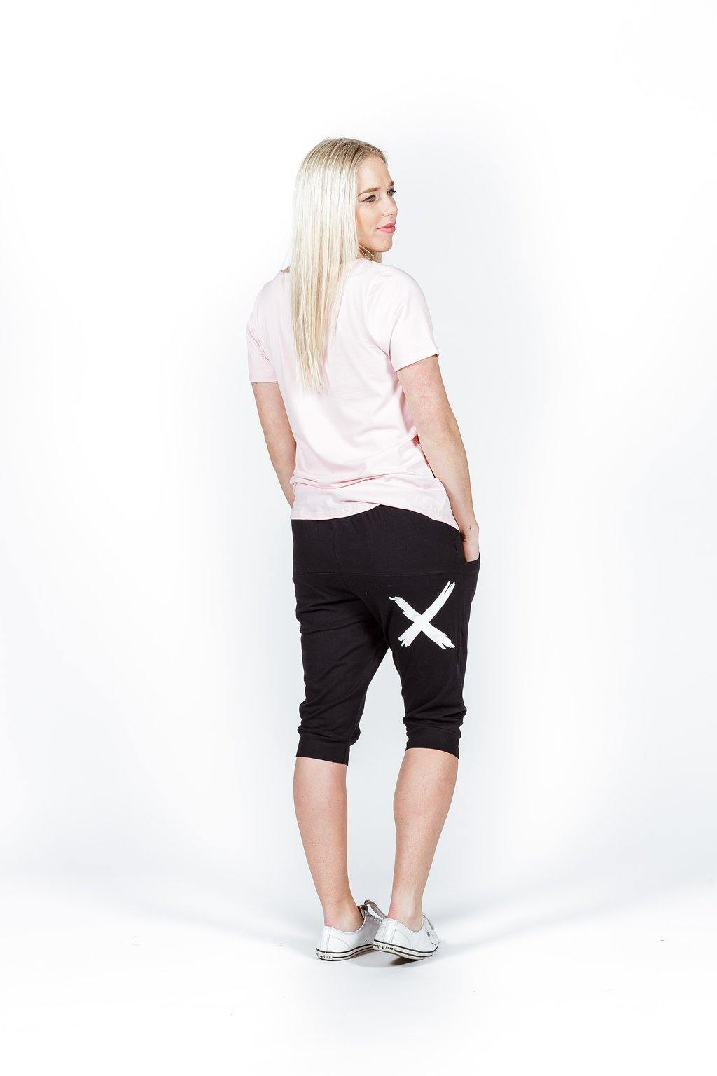 Apartment Pants- 3/4 White Cross