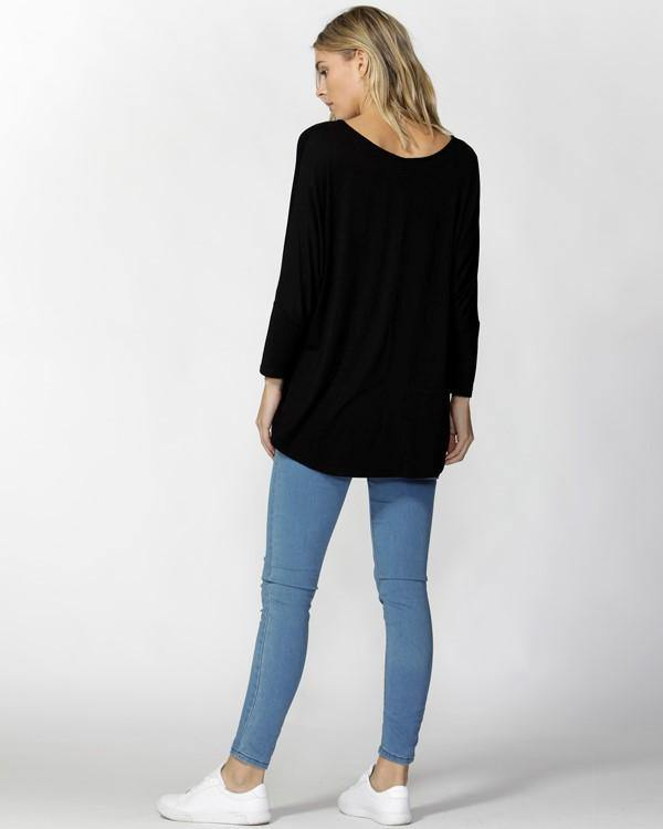 Milan Tee 3/4 Sleeve-Black