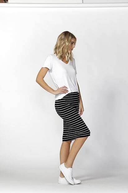 ALICIA MIDI SKIRT-Stripe - BETTY BASICS - allaboutagirl