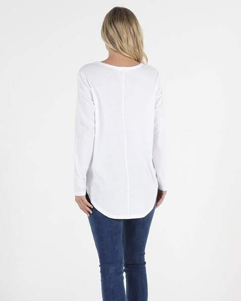 BETTY BASICS Megan Long Sleeve Top-White - allaboutagirl