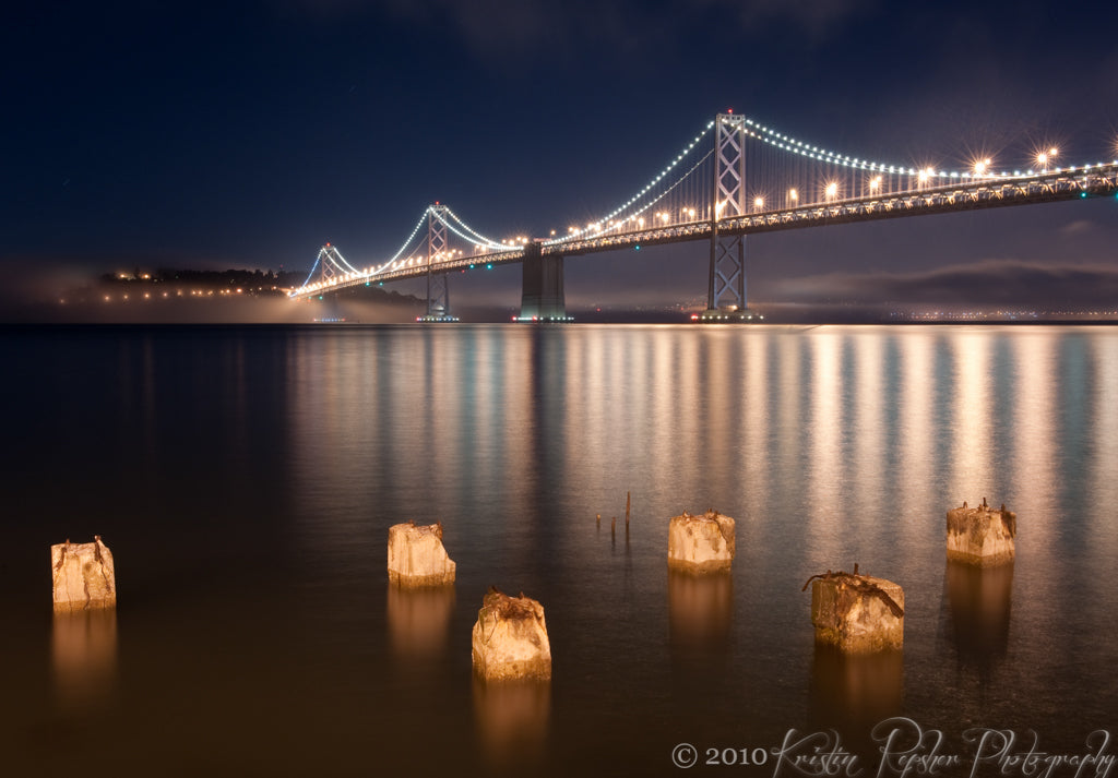 After a day of shooting around San Francisco and the Marin Headlands, we were disappointed to find that the customary Golden Gate Bridge viewpoint was completely fogged over. Luckily, that same fog just added atmosphere at this Bay Bridge viewpoint on the Embarcadero.