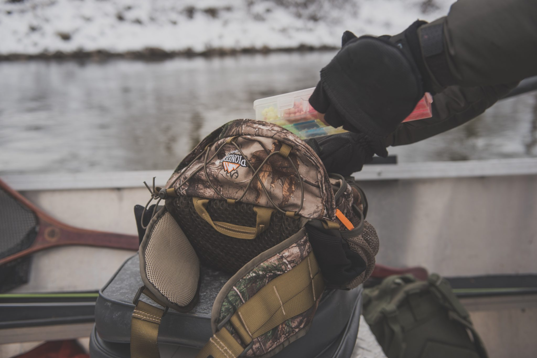 Michigan resident, and Fishing Guide, Brandyn Thorsen, uses the Pioneer 400RT series waist pack to hold his collection of Trout beads. Fishing beads for Winter Steelhead is highly effective, as the bead resembles a single fish egg.