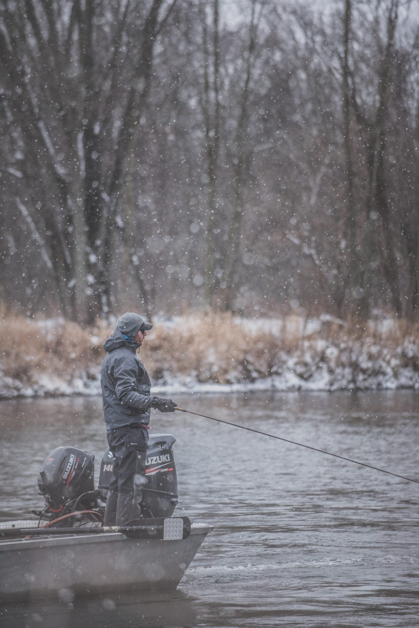 Michigan Resident, Scott Wellard, battles a fresh snowfall while swinging flies for Steelhead on the Muskegon River in Michigan. Wellard, and friend Sean Anderson spent the day with Fishing Guide, Brandyn Thorsen of Great Lakes Guide Services, searching out some hungry Steelhead.